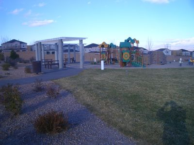 Community playground, pool and basketball courts