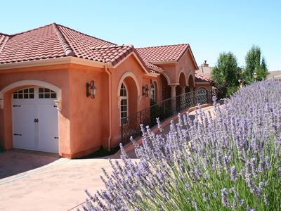 Front of house and long driveway in Spring, with lavender blooming.