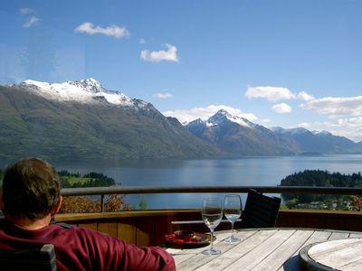 Relaxing on our balcony looking down Lake Wakatipu towards Walter Peak