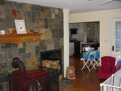 Union house rental - Woodstove and hearth in living room