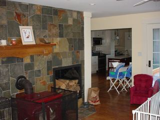 Union house photo - Woodstove and hearth in living room