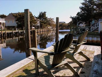 Adirondack chairs overlooking the canal