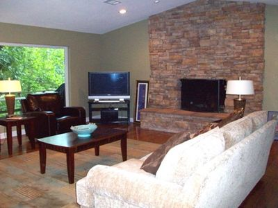 Family Room with Huge Wood-Burning Fireplace