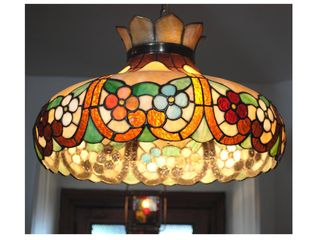 Newport house photo - Large c.1860 copper soldered, leaded glass chandelier with rich color palette