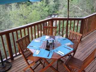 Lake Glenville house photo - Dining overlooking waterfall