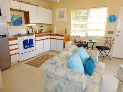 The spacious Beach Suite has a full kitchen and twin pull-out sleeper.