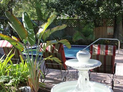 Key West condo rental - Lush tropicals surround the pool area!