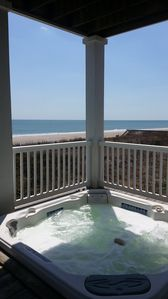 Hot tub on first floor with guest suites