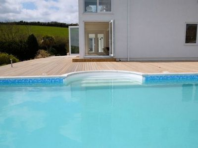 Downderry villa rental - Open plan living straight into the Heated Pool.