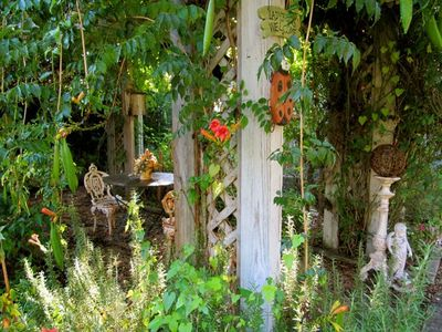 Lake Austin cottage rental - A QUIET SHADY SPOT in the garden to chat, read or sip tea