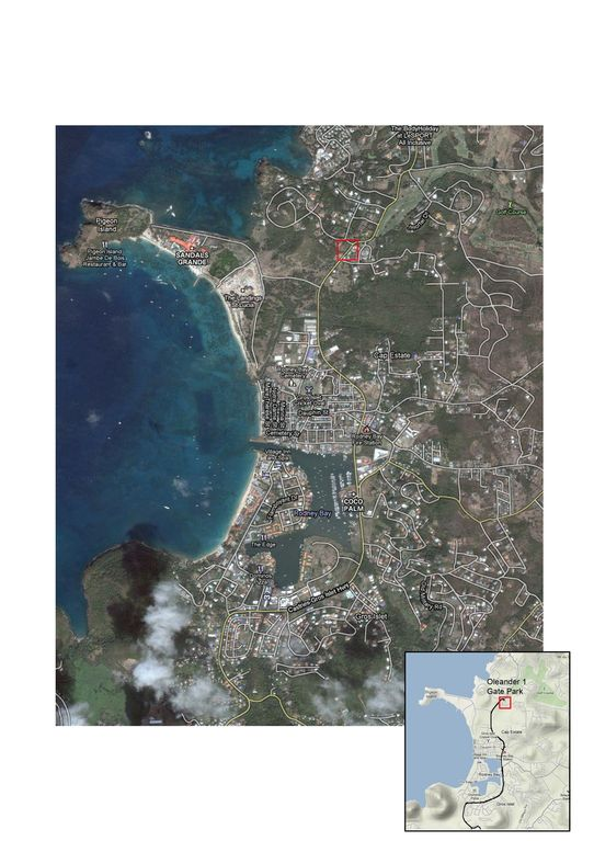 Pigeon Island/Marina and location of villa