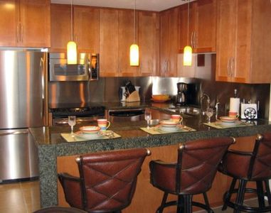 Modern NEW Fully Equiped Kitchen w/GE Profile Stainless Appliances w/Ocean View