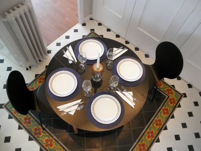The entryway set up for dining for 4!.
