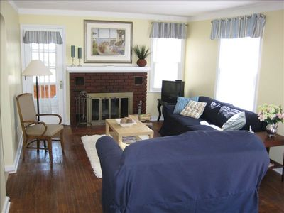 Bright and Sunny Living Room, the Sunroom is just past the The French Doors