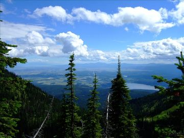 View of Whitefish Lake and the Flathead Valley from trail at Big Mountain