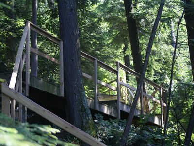 Private wooden walk and stairs leading to the lake.