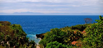 Roatan house rental - View of mainland of Honduras from porch at L'Alizè