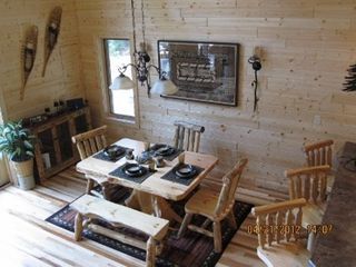 Munising cottage photo - Beautiful log dining table and chairs - the table set just for you!