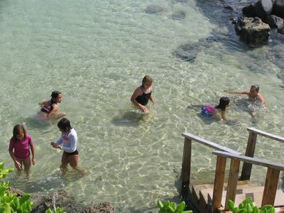 Laie house rental - Kids love to swim in the sandy bathtub area protected from surf