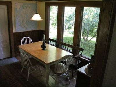 Breakfast nook overlooking stream