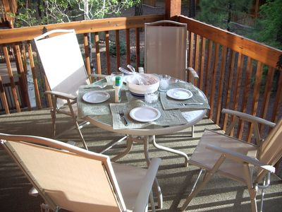 Dining outside on your private balcony, smell the pine trees and watch wildlife