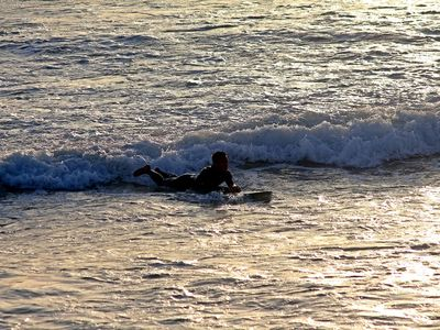 Boogie Boarder in front of Condo