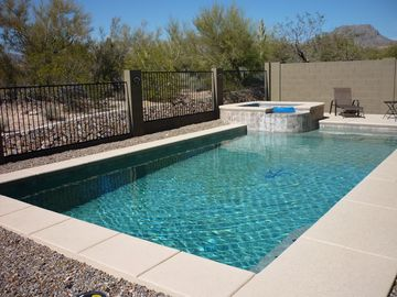 Marana house rental - Views of the Tortolita Mtns from the pool bench and chaise relaxation chairs!