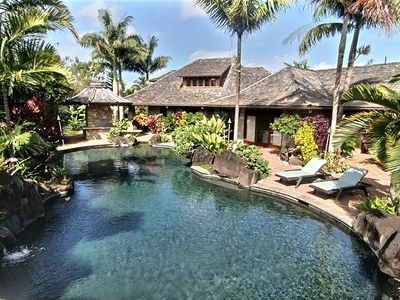 Anini Beach estate rental - 90,000 gal salt water lagoon style 84' long pool, spa, 2 water falls and grotto