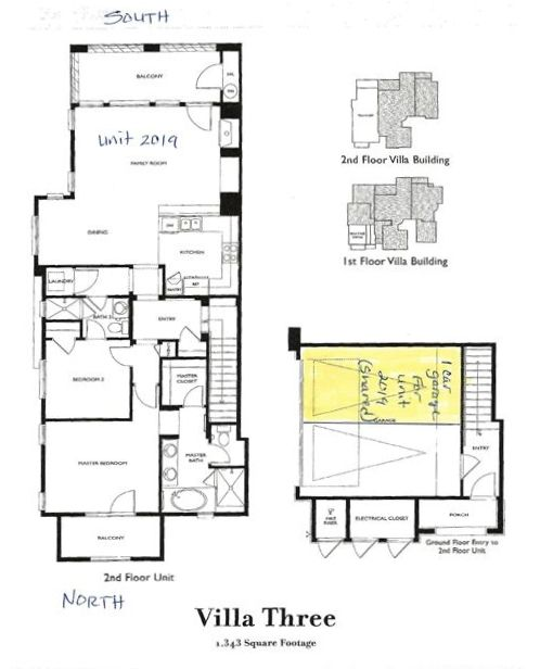 floor plan, 1 car garage parking(highlited)is a shared space in 2 car garage