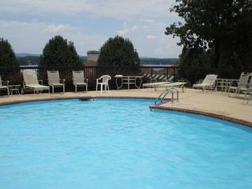 View overlooking lake. Pool is located directly across from the unit.