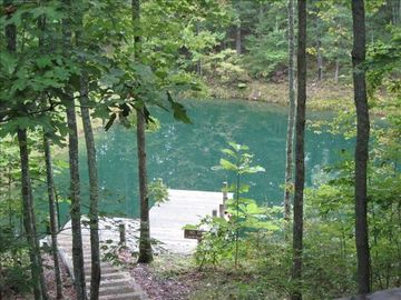 Oneida cabin rental - View of pond from back porch
