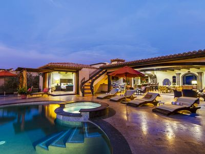 Stunning walk-out patio with private pool and jacuzzi
