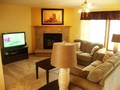 Living Room with Queen Sofa Sleeper, Gas Fire Place and Large Screen TV/DVD