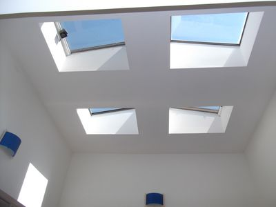 Skylights fill the top floor with light