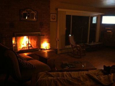 The fireplace makes for a cozy setting. Snuggle up with a good book or movie.