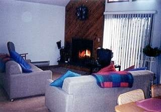 Living room, wood burning fireplace