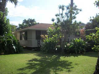 Sunset Beach house photo - Our vintage Hawaiian beach house sits in a large fully fenced and private yard.
