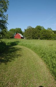 Groomed walking trails and a view of the Vermillion Barn