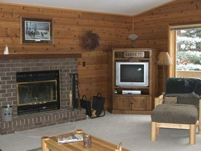 Large great room with woodburning fireplace