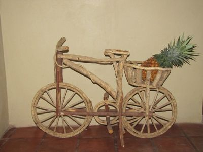 Guanajuato townhome rental - Wooden folkart bicycle from Mexican coast