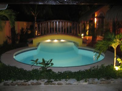 Night time Pool terrace