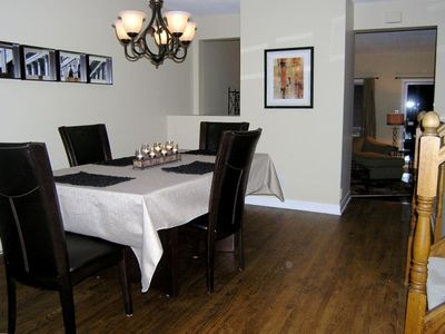 Enjoy a relaxing dinner in  our dining room with gleaming  Hardwood Floors...