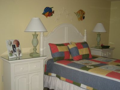 Tropical Bedroom with queen bed. New furniture and mattress for 2012 season.