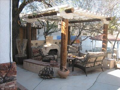 Outdoor fireplace and seating area