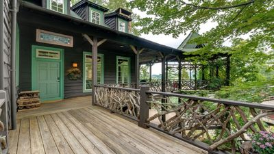 Check out the huge deck and gazebo overlooking the mountains and Lake Glenville!