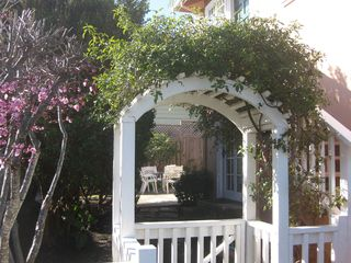 Monterey apartment photo - Lovely Entry to Large Backyard, Gas BBQ, Table & Chairs, Chaise Lounge