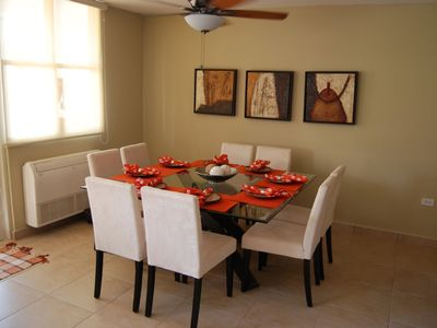 Comfort seating and tableware for 8 people w/ A/C!