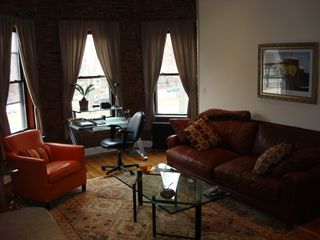 Boston condo photo - LR Queen Leather Sofabed & Work Desk with printer & Wireless Internet.