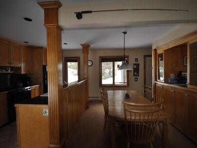 Kitchen and large shaker 6 person two leaf dinning table.