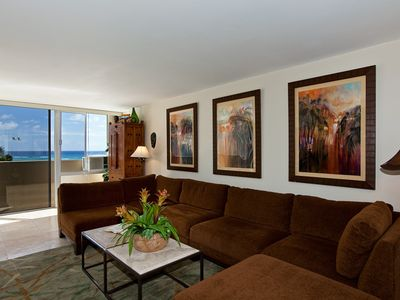 Living room has AC and ocean views - Oahu Ocean Front Condo